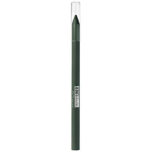 Maybelline New York - Tattoo Liner, Lápiz de Ojos Verde Semi-Permanente, Tono 932 Intense Green