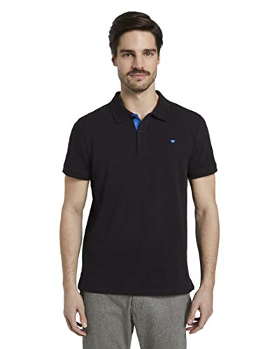 Tom Tailor Basic Polo Camiseta, 29999/Negro, L para Hombre