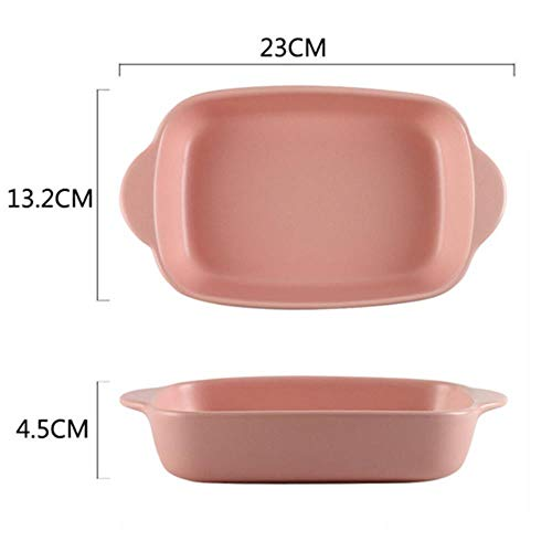7 Colors Ceramic Binaural Rectangular Cheese Baked Plate Pan Baking Dish Tray Western Dishes Oven Bowl High Temperature Muffin and Cupcake Baking Tray,Pink 1 Pc