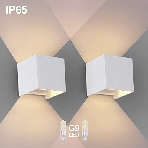 2PCS Moderna Apliques De Pared Blanco Cálido G9 LED OOWOLF, Lampara De Pared Bombillas LED Reemplazables Iluminación Decorativa Impermeable IP65 De Exterior y De Interior [A+++]