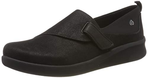 Clarks Sillian2.0ease, Mocasines Mujer, Negro (Black Synthetic Black Synthetic), 38 EU