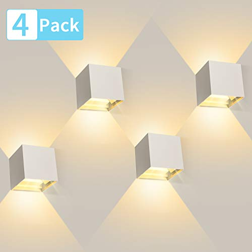 4 Pcs 12W Aplique pared LED Blanco Cálido 3000K 1000lm Lampara de pared Interior/Exterior Impermeable IP65 Ángulo ajustable Lámpara Pared Blanco