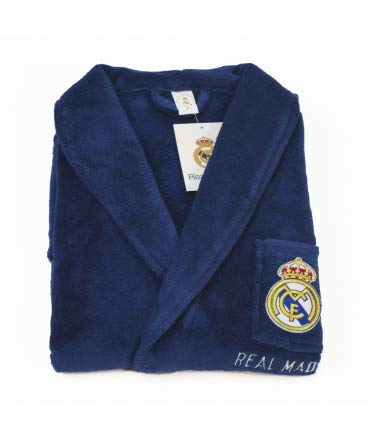 10XDIEZ Bata Real Madrid 306 Azul Royal - Medidas Albornoces/Batas Adulto - XL (Super Grande)