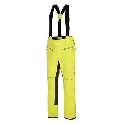 Dare2b Intrinsic Pant Waterproof & Breathable Ergonomic Fit Aep Kinematics Ski & Snowboard Salopette Trousers with Integrated Snow Gaiters, Hombre, Amarillo (Citron/Ebony Grey), L