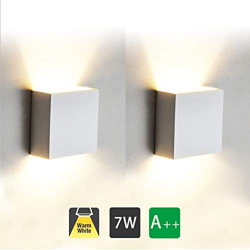 2 Pcs Aplique Pared Interior LED 7W Lámpara de pared Moderna 3000K Blanco Cálido Perfecto para Salon Dormitorio Sala Pasillo Escalera