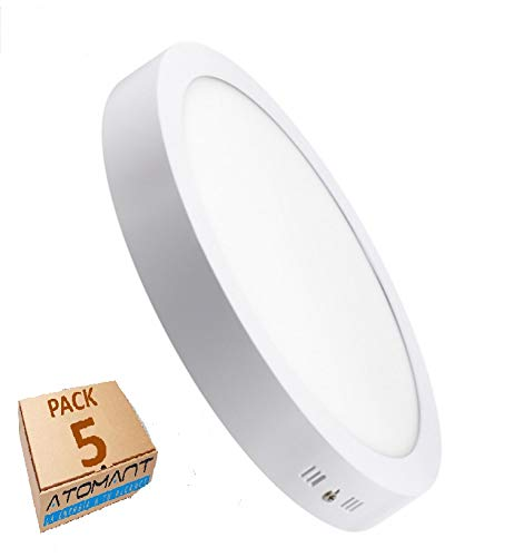 Pack 5x Plafón Downlight LED Circular 20W superficie. Color Blanco Frio (6500K). 1800 lumenes. Driver incluido. A++