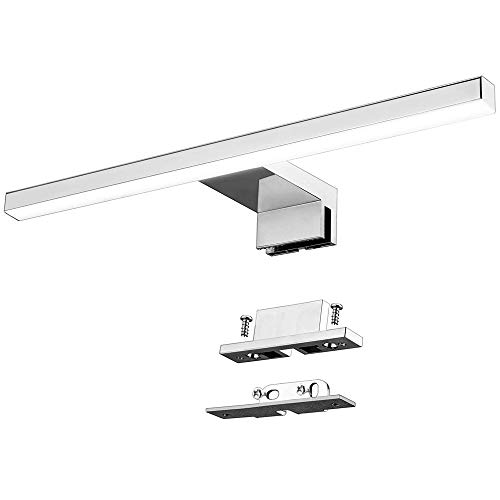 Lámpara de Espejo Baño LED 5W 30cm 400LM Azhien,Blanco Neutro 4000K LED Armario Lámpara Luz de Pared IP44 230V Aplique de Baño Espejo Acero Inoxidable 300x14x14mm