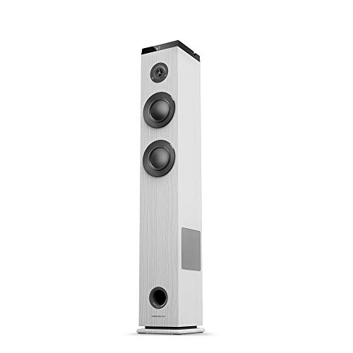 Energy Tower 5 g2 (65 W, Bluetooth 5.0, True Wireless Stereo, Radio FM, USB/MicroSD MP3 Player, Audio-In)-Blanco