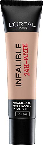 L'Oréal Paris 24H Mate, Base Maquillaje Matificante Larga Duración Tono de Piel Medio 20 Sable - 35 ml