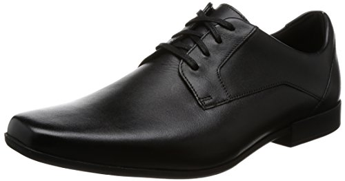 Clarks Glement Lace, Zapatos de Cordones Derby para Hombre, Negro (Black Leather), 41.5 EU