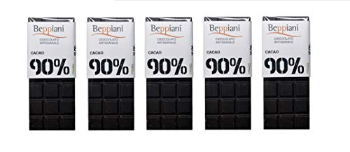 Beppiani - Set 5 tabletas 90% chocolate oscuro oscuro - 350 g - Chocolate hecho a mano - MADE IN ITALY