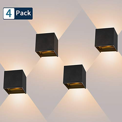 4 Pcs 12W Aplique pared LED Blanco Cálido 3000K 1000lm Lampara de pared Interior/Exterior Impermeable IP65 Ángulo ajustable Lámpara Pared Negro