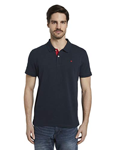 Tom Tailor Basic Polo Camiseta, 10668/Sky Captain Blue, L para Hombre