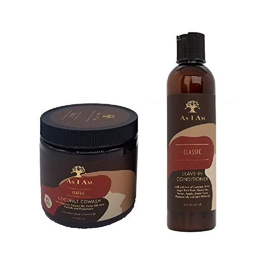 As I Am Leave-in Conditioner 8oz, Coconut Cowash Cleansing Conditioner 16oz SET by I Am