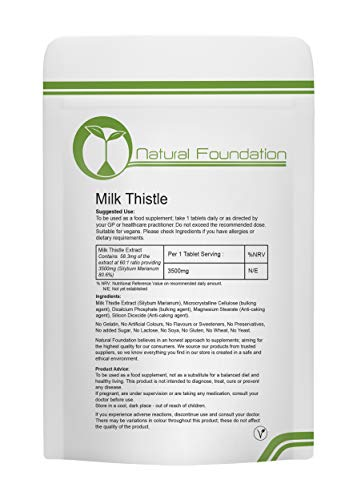 Milk Thistle 3500mg Tablets High Strength Silymarin | Natural Foundation Supplements (1000 Tablets)