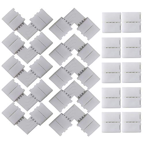 FULARR 20Pcs Profesional 4 Pin LED Luz Tira Conector Kit: 10Pcs L-Forma Conector, 10Pcs Gapless Conector. Sin Soldadura 10mm No-Impermeable Snap Down LED Conector –– Blanco