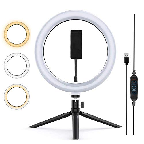 Zoeley Anillo de luz LED, Selfie Ring Light y Trípode 3 Colores Modo 12 Brillos Regulables, Aro de luz LED Rotación de 360° para Selfie, Maquillaje y Youtube Live