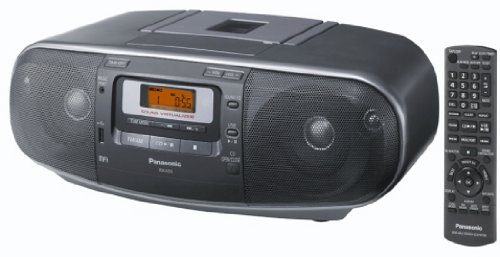 Panasonic RX-D55AEG-K - Radio Cassette y grabador CD (20 W, 4 altavoces de 2 vías, radio AM/FM, USB, Digital Audio Player, sonido envolvente natural, remasterizado MP3, Sound Virtualizer) gris