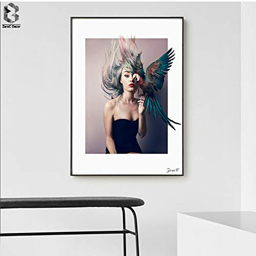 tzxdbh Nordic Girl Portrait Canvas Art Posters and Prints Painting, Parrot Wall Pictures for Living Room Home Decoration, Wall Decor-in Painting & Calligraphy from a 50x70cm Sin Marco A
