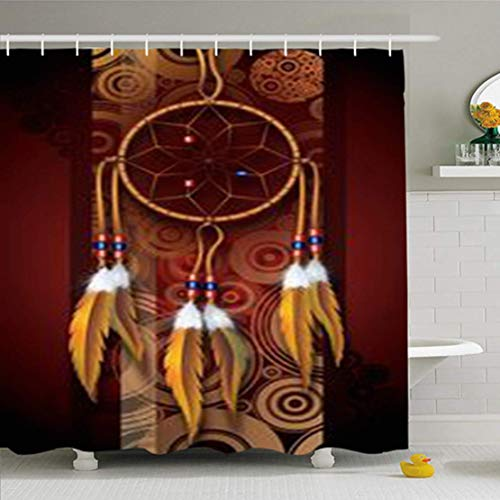 Cortinas de baño/Bath Curtain, Shower Curtains 66 x 72 Inches Indian Native American Dark Brown Burgundy Circles Dreamcatcher Culture Waterproof Fabric for Bathroom Home Decor Set with Hooks
