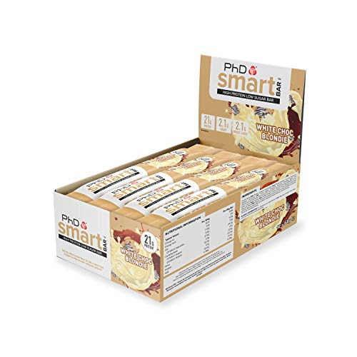 PhD Smart Bar Barritas Proteína Bizcocho de Chocolate blanco (12 x 64g), 31% Proteína