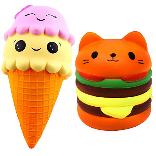 Desire Deluxe Squishies Ice Cream and Watermelon Pack by Slow Rising Big Size UK Jumbo Scented Squishy Squeeze Toy Stress Reliever Gift (Double Ice Cone + Watermelon)