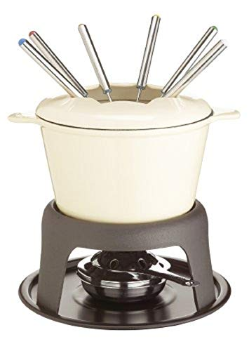 Kitchen Craft Master Class - Fondue de Hierro Fundido esmaltado (con 6 Tenedores), Color Crema