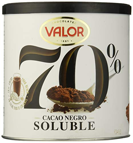 Valor Cacao Soluble Negro 70%, 6 de 300 g (Total 1800 g)