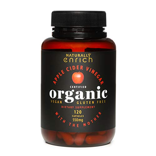 Apple Cider Vinegar with Mother- 550mg Raw ACV Powder, Rich in enzymes, Healthy gut acids, Balance PH levels, 120 Capsules from Organic Apple Orchards in New Zealand.