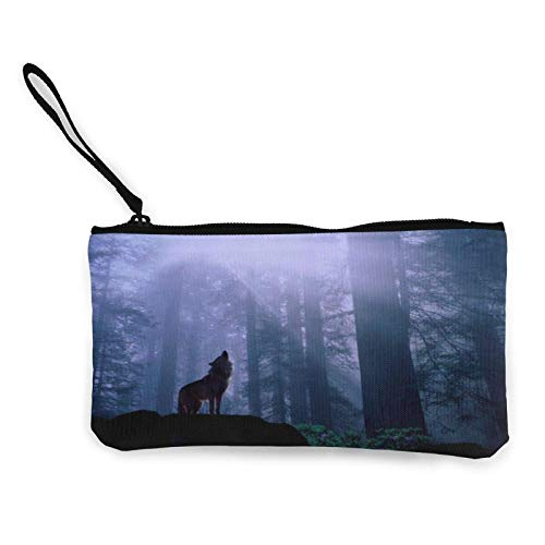 XCNGG Monederos Bolsa de Almacenamiento Shell Warming Up Night Howl Wolf Canvas Change Purse Cellphone Clutch Purse with Wrist Strap Multipurpose Cosmetic Bag Zip Mini Wallet For Travel Holiday