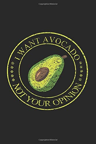 Notebook: I Want Avocado Not Your Opinion Black Lined College Ruled Journal - Writing Diary 120 Pages