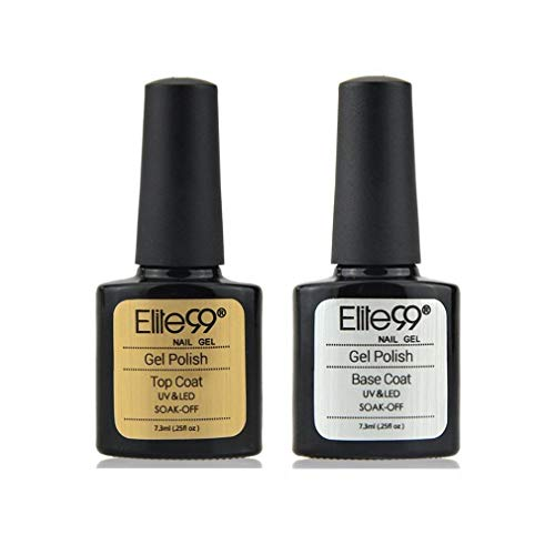 Elite99 Esmaltes Semipermanentes de Uñas en Gel UV LED de Color Neon, 2pcs Kit de Esmaltes de Uñas 7,3ml (Base y top coat)