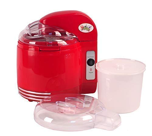Lickleys Two-In-One Helado & Yogur Cafetera con Desmontable Mezcla Remos, Hace Hielo Crema Gelato Frozen Yogur Sorbete Casero Yogur - Rojo, 2-in-1 Ice Cream & Yogurt Maker