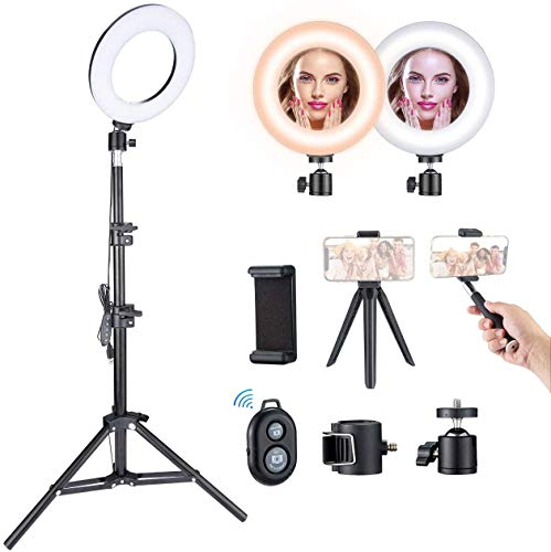 Luz de Anillo LED VicTsing, Ring Light con 5 Temperaturas de Color y 5 Modos de Brillo, Trípode con Soporte Ajustable, para Selfie, Maquillaje, Youtube, TIK Tok y Selfie Video