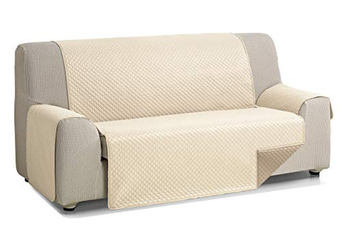 Martina Home Diamond Cubre Sofa Acolchado Reversible, Beige - Cuero, 3 Plazas