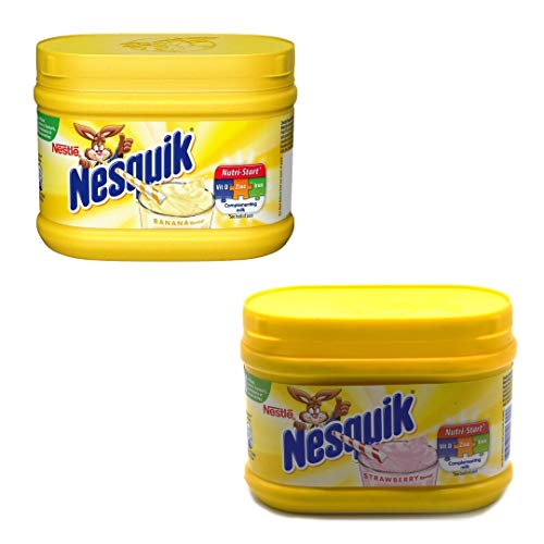 Nesquik Strawberry and Banana Flavour Bundle | Enjoy These Classic Flavours with Your Milk | 1x300g Strawberry Tub and 1x300g Banana Flavour Tub | Total of 2 x 300g Tubs