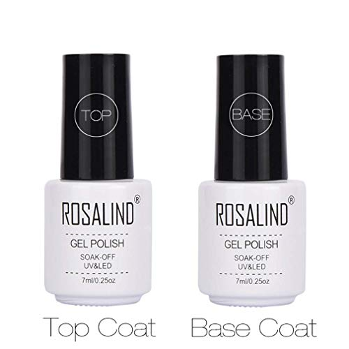 ROSALIND Base y Top Coat Semipermentes, Esmaltes Semipermanentes de Uñas en Gel UV LED Gel Soak Off 2pcs/Kit 7ML