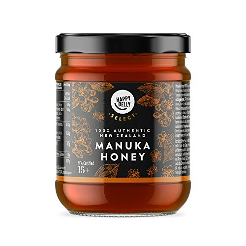 Marca Amazon - Happy Belly Select Miel de manuka 15+, 340gr - MGO 514