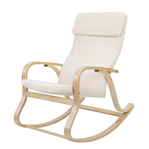 SONGMICS LYY30M-Sillón Mecedora, Color Beige, 65 x 90 x 98 cm