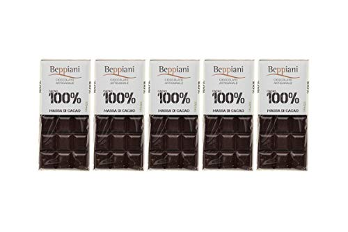 Set de 5 Tabletas 100% Masa de Cacao – 450 g, Beppiani – Chocolate Artesanal – MADE IN ITALY