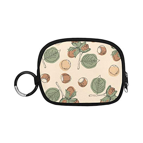 Cute Coin Pouch Creative Hazelnut Dried Fruit Snacks Snack Coin Purse Bag Coin Pouch Purse Zipper with Keychain Ring For Girl Women Kids