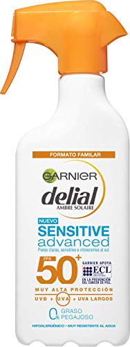 Garnier Delial Sensitive Advanced - Leche Solar para Pieles Claras, Sensibles e Intolerantes al Sol, IP50+  - 300 ml