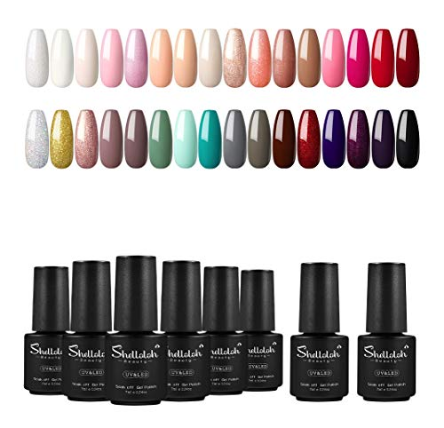 Esmalte Semipermanente de Uñas en Gel UV/LED 32pcs Kit Uñas de Gel Soak off 7ml Base Coat Top Coat Shelloloh Manicura Pedicura Kit