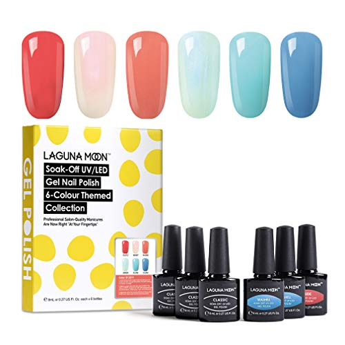 Lagunamoon Esmaltes Semipermanentes, 6pcs Kit de Uñas en Gel UV LED - Color of 2019