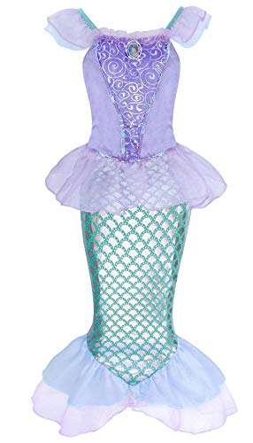 AmzBarley Disfraz Sirenita Niña Ariel Princesa Ropa Fiesta Sirena Vestido Cumpleaños (Little Mermaid Costume Kids Dress) para Boda Navidad Cosplay Halloween Carnaval Ceremonia Bautizo 19/5-6 Años