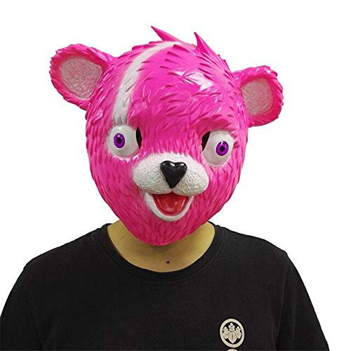 WasJmu Cuddle Team Leader Mask Cosplay Funny Animal Pink Bear John Wick Reaper Replica Masks Halloween Party Props TPS Game Latex Mask,Pink Bear