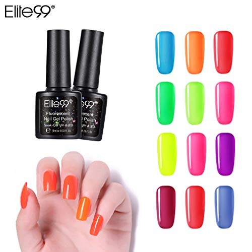 Elite99 Esmaltes Semipermanentes de Uñas en Gel UV LED de Color Neon, 12pcs Kit de Esmaltes de Uñas 10ml