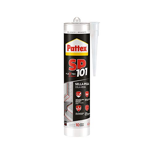Pattex SP101 Original, Adhesivo Sellador para Interiores y Exteriores, Polímero Sellador Blanco Multimaterial, Sellador de Juntas en Cartucho, 1 x 280 ml