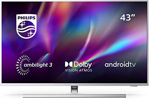 Philips 43PUS8505/12 Ambilight - Smart TV de 43' (4K UHD, P5 Perfect Picture Engine, Dolby Vision, Dolby Atmos, Control de voz, Android TV), color Plata Claro (modelo de 2020/2021)