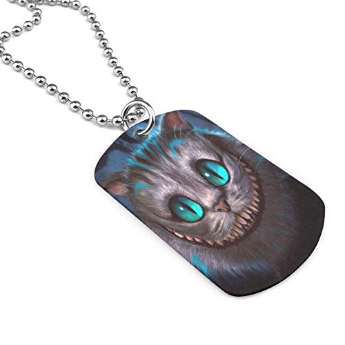 UYIU IYI Wiki Cat Military Necklace Keychain Custom Message Stamped Pendant Dog Tag Necklace Pendant Necklace Personalized Army Card Necklace